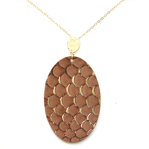 Necklace 436a 01 CiTY oval leather scales gold accent dark brown