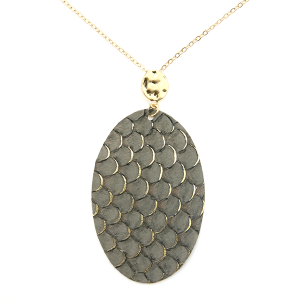Necklace 283f 01 CiTY oval leather scales gold accent gray