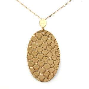 Necklace 336b 01 CiTY oval leather scales gold accent brown