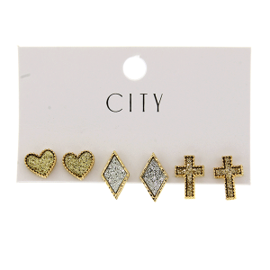 Earring 4129 01 City 3pc glitter set heart cross MUL1