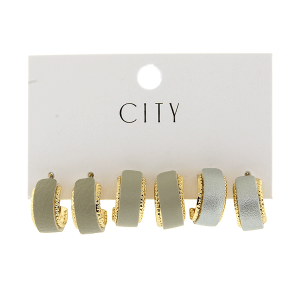 Earring 4094 01 City 3pc leather arc hoop gray
