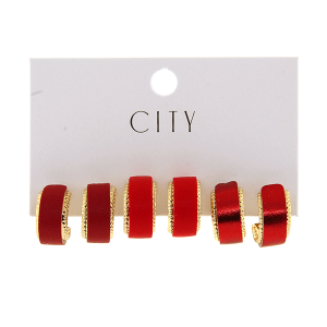 Earring 4128 01 City 3pc leather arc hoop red