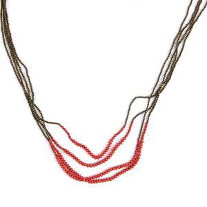 (Necklace 388 01 Velvet) Multi layer bead string necklace red accents