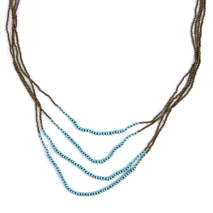 (Necklace 381 01 Velvet) Multi layer bead string necklace turquoise accents