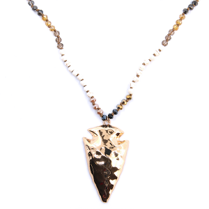 Necklace 070 01 Velvet western chic arrowhead bead ivory gold