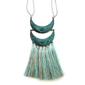 Necklace 1313c 01 Velvet leather string tribal arch tassel dangle patina silver