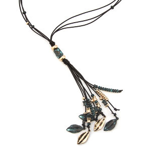 "Necklace 1393b 01 CiTY bead string petal ""tassel"" gold patina"