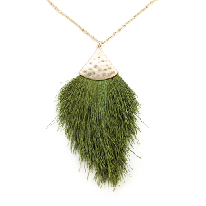 Necklace 1107 01 Influence tassel dangle fan necklace olive