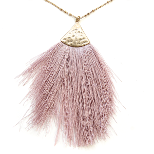 Necklace 956 01 Influence tassel dangle fan necklace lavender