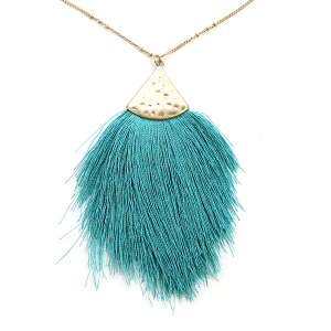 Necklace 1157 01 Influence tassel dangle fan necklace turquoise