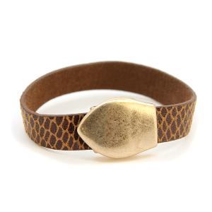 Bracelet 067d 01 Influence magnetic leather band bracelet gold brown