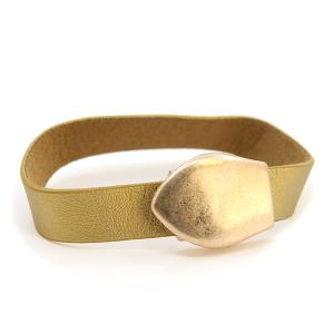 Bracelet 058e 01 Influence magnetic leather band bracelet gold