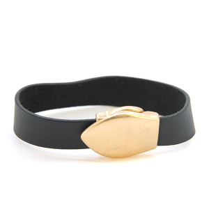 Bracelet 033g 01 Influence magnetic leather band bracelet gold black