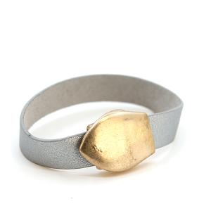 Bracelet 064b 01 Influence magnetic leather band bracelet gold silver