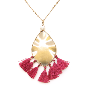Necklace 1788 01 Influence tear drop dangle tassel necklace fuchsia