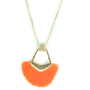 Necklace 1463a 01 Influence fringe fan necklace orange