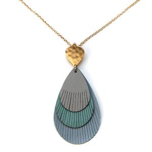 Necklace 1039 01 Influence tear drop fringe leather necklace blue multi