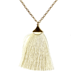 Necklace 123l 01 Influence tassel dangle necklace ivory