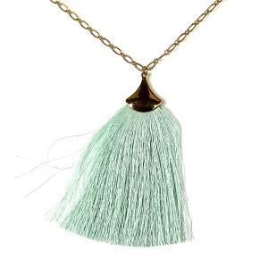 Necklace 063d 01 Influence tassel dangle necklace mint