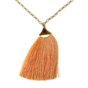 Necklace 061c 01 Influence tassel dangle necklace peach