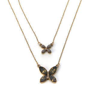 Necklace 1048 01 Influence two layer butterfly necklace gem gray