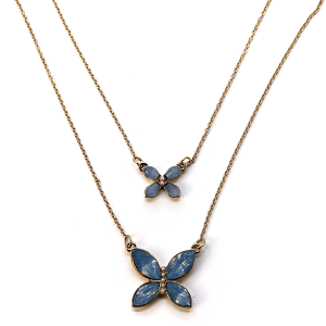 Necklace 1042 01 Influence two layer butterfly necklace gem blue
