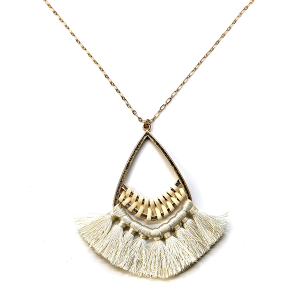 Necklace 1059 01 Influence tear drop contemporary tassel necklace ivory