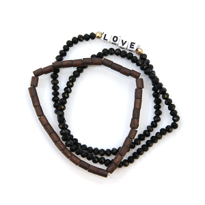 Bracelet 487 01 CiTY bead three bracelet stack love black