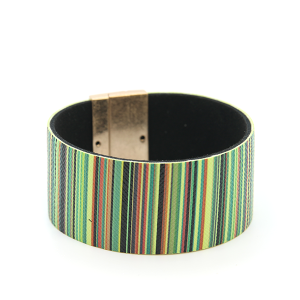 Bracelet 253b 01 CiTY stripe bracelet magnetic band green multi
