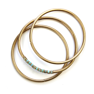 Bracelet 250j 01 City three pc bracelet stack gold turquoise