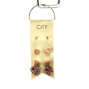 Earring 2904 01 City 3 stud earring set heart valentines