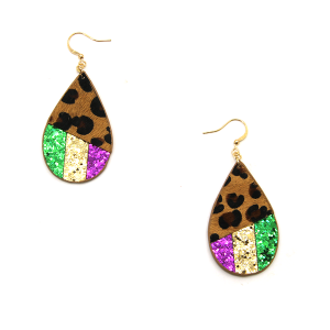 Mardi Gras Earring 002a tear drop leopard stripe leather earrings