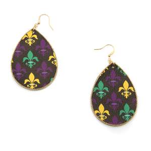 Mardi Gras Earring 012 tear drop fleur de lis leather earrings