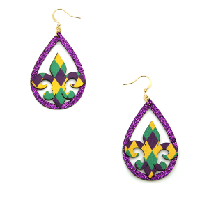 Mardi Gras Earring 016b tear drop fleur de lis leather earrings