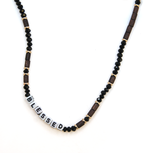 Necklace 1871c 01 CiTY Bead Jewel Blessed Necklace black