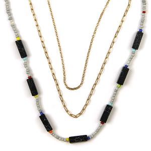 Necklace 435 01 City stone bead neckalce chain 3 layer black