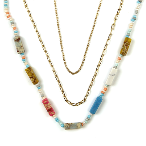 Necklace 432 01 City stone bead neckalce chain 3 layer multicolor