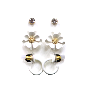 Earring 2776 04 Clover 3 set earrings stud floral white