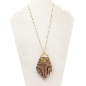 Necklace 1925C 81 City fringe drop brown