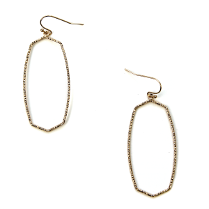 Earring 419a 06 V contemporary hex oval earrings hoop gold
