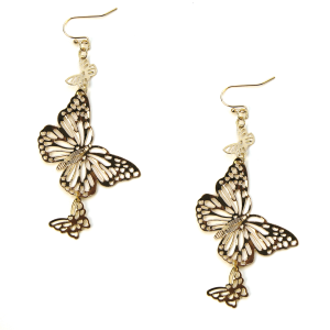 Earring 412a 06 V Butterfly Earrings gold