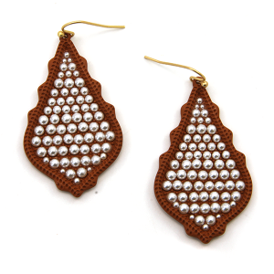 Earring 2174g 06 V tear drop bead earrings brown