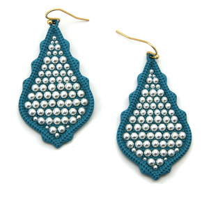 Earring 2160a 06 V tear drop bead earrings turquoise