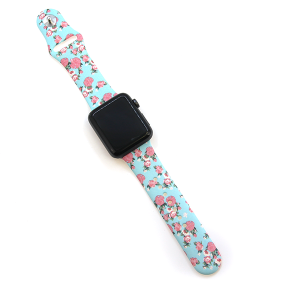 Watch Band 022a 08 silicon rubber 38mm 40mm floral turquoise