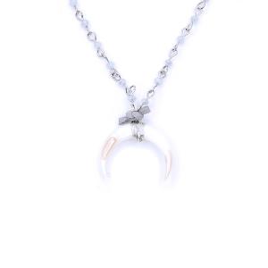 Neck 1858 08 Romance long bead crescent gray