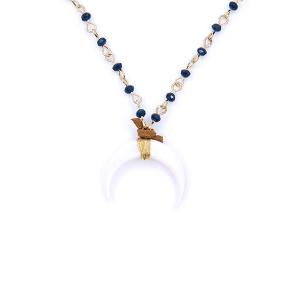 Neck 1856 08 Romance long bead crescent blue