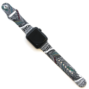 Watch Band 042b 08 silicone feather art 38mm 40mm