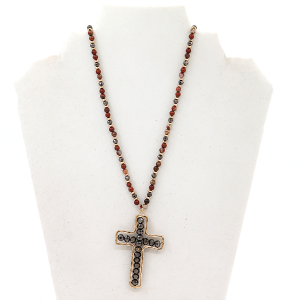 Necklace 102D 77 Pomina burgundy gray bead necklace with a gray cross