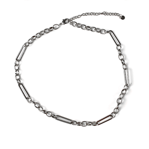 Necklace 197b 10 Avec chain necklace collar silver