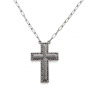Necklace 121a 10 Avec chain cross necklace rhinestones silver